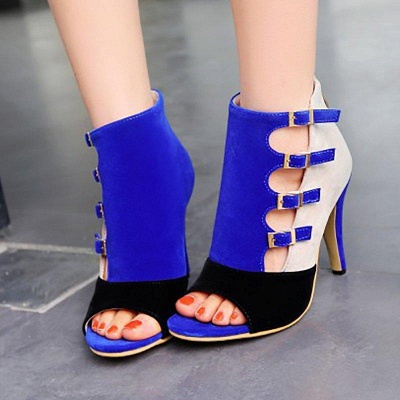 Suede Cone Heel Zipper Lace-up Peep Toe Boots On Sale_4