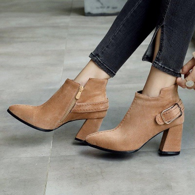 Daily Chunky Heel Suede Elegant Round Toe Boots On Sale_2
