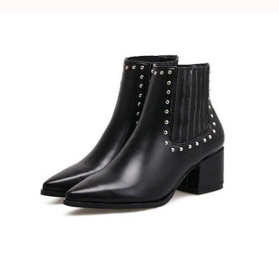 Chunky Heel Daily Pointed Toe Boots On Sale_3