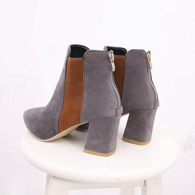 Zipper Daily Chunky Heel Pointed Toe Suede Boots On Sale_8