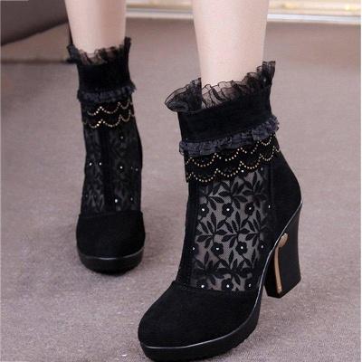Lace Black Beading Suede Platform Winter Boots On Sale_2