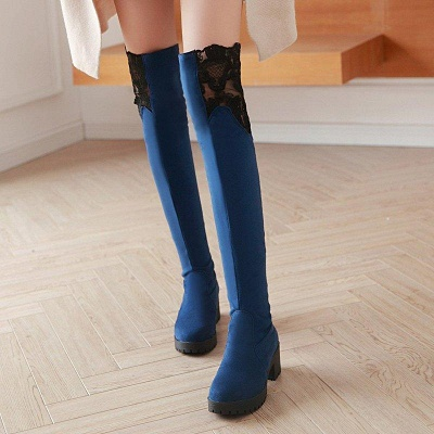 Blue Suede Daily Chunky Heel Pointed Boots On Sale_2