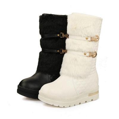 Women's Boots Black Wedge Heel Round Toe Boots On Sale_8