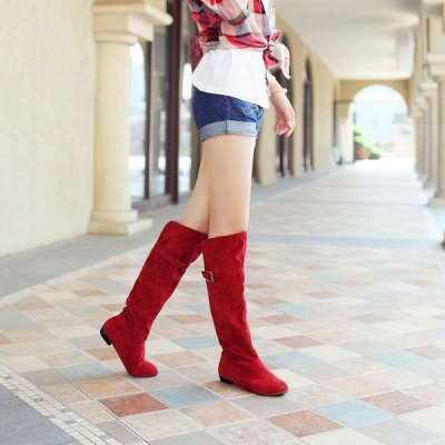 Suede Daily Wedge Heel Buckle Boots On Sale_7