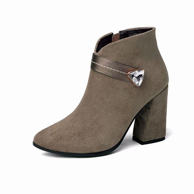 Zipper Chunky Heel Daily Suede Elegant Pointed Toe Boots On Sale_3