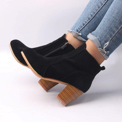 Suede Chunky Heel Zipper Daily Round Boots On Sale_2