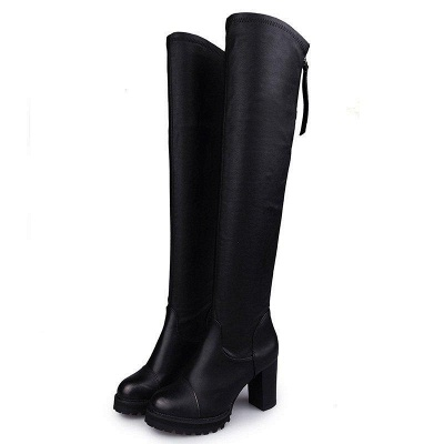 Black Fall Chunky Heel Zipper Boots On Sale_3