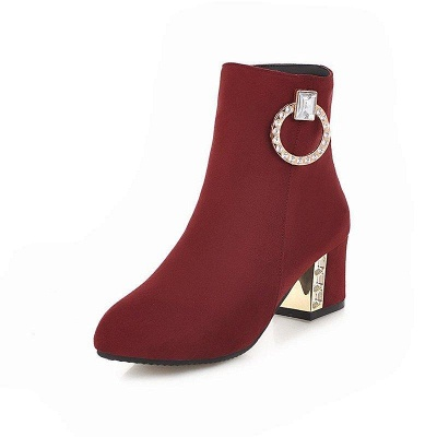 Zipper Daily Chunky Heel Pointed Toe Elegant Boots On Sale_1