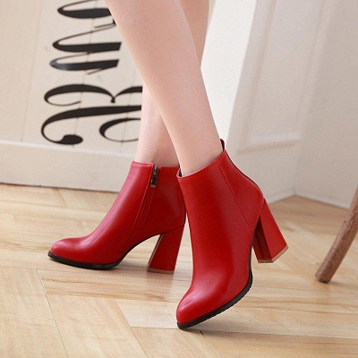 Chunky Heel Zipper Daily Pointed Toe Boots On Sale_4