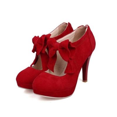 Round Toe Bowtie Hollow Stiletto Heel Women's Boots On Sale_6