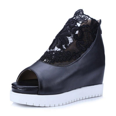 Zipper Hollow-out Wedge Heel Elegant Boots On Sale_3