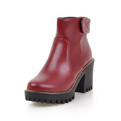 Daily Chunky Heel Zipper Round Boots On Sale_1