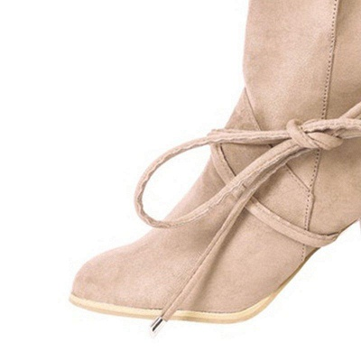 Women's Boots Lace-Up Chunky Heel Round Toe Elegant Apricot Boots On Sale_4