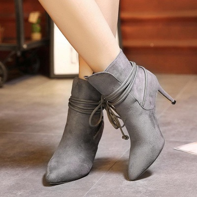 Women's Boots Ankle Boots Stiletto Heel Suede Shoes On Sale_6