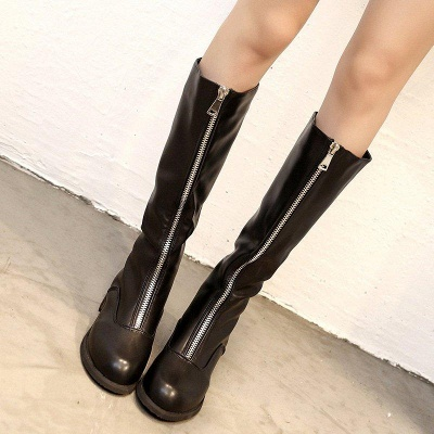 Fashion Zipper Chunky Heel Boot On Sale_4