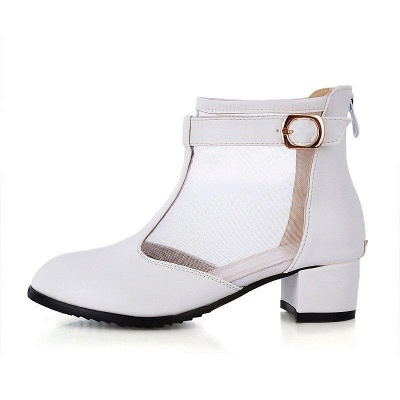 Buckle Pointed Toe Chunky Heel Elegant Boots On Sale_3