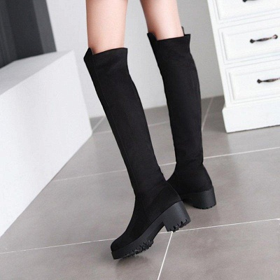 Suede Daily Chunky Heel Round Boots On Sale_5