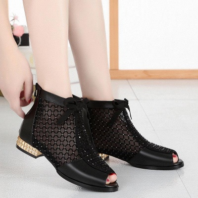 Black Chunky Heel Bowknot Casual Mesh Boots On Sale_7