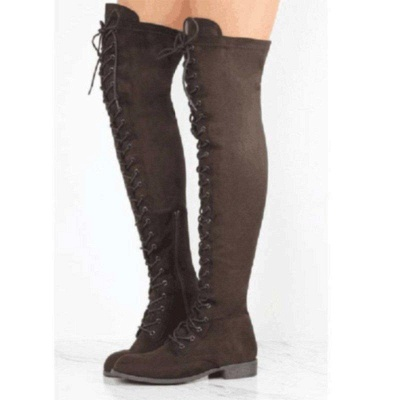 Lace-up Daily Chunky Heel Suede Fall Round Boots On Sale_3