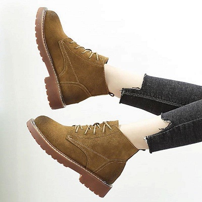 Grind Cowhide Leather Round Toe Boots On Sale_8
