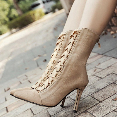 Lace-up Stiletto Heel Daily Elegant Pointed Boots On Sale_5