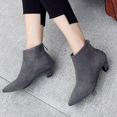 Chunky Heel Zipper Daily Pointed Toe Elegant Boots On Sale_8