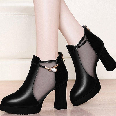 Daily Chunky Heel Buckle Pointed Toe Elegant Boots On Sale_1