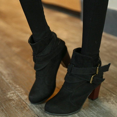 Suede Buckle Chunky Heel Daily Elegant Round Boots On Sale_3