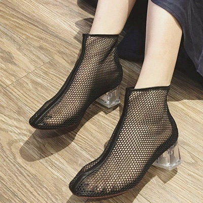Zipper Daily Mesh Chunky Boots On Sale_4