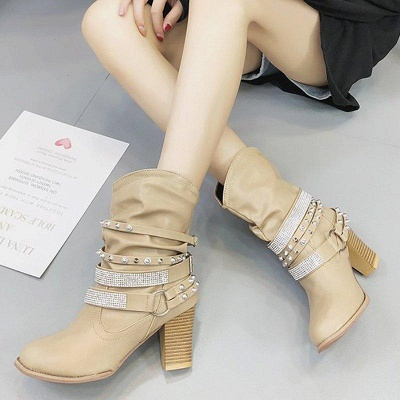 Rivet Chunky Heel Daily Pointed Toe Boots On Sale_5