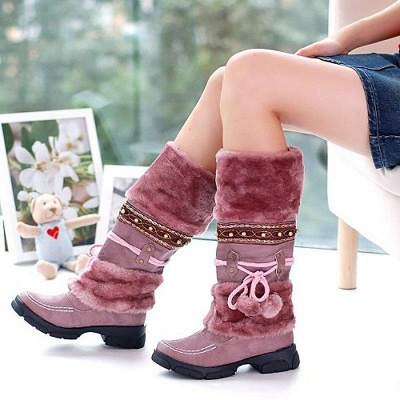 Fur Chunky Heel Suede Round Boots On Sale_4