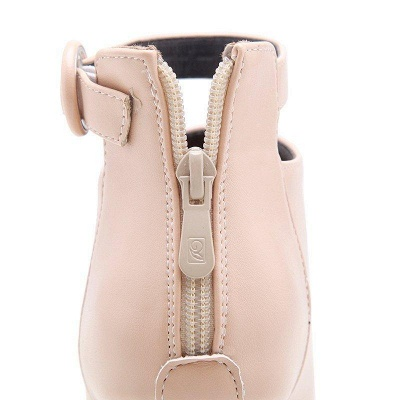 Chunky Heel PU Daily Tie Round Boots On Sale_10