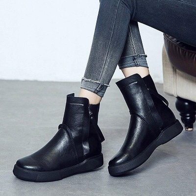 Zipper Daily Round Toe Flat Heel Boots On Sale_3