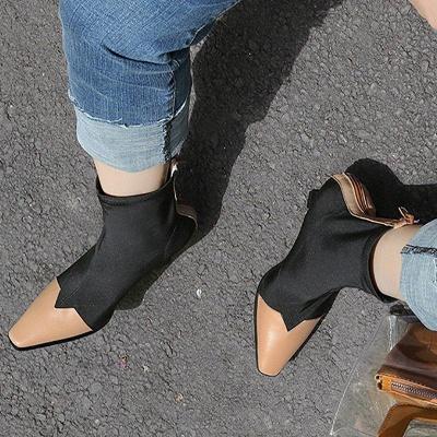 Zipper Leather Kitten Boots On Sale_1