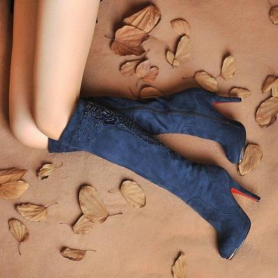 Women's Boots Stiletto Heel Flower Pointed Toe Elegant Boots On Sale_1
