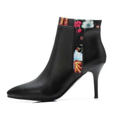 Zipper Daily Pointed Toe Elegant Stiletto Boots On Sale_7