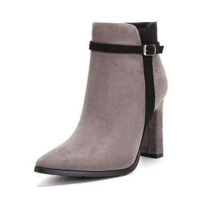 Suede Buckle Chunky Heel Pointed Boots On Sale_5