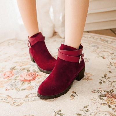 Buckle Chunky Heel Pointed Toe Elegant Boots On Sale_1