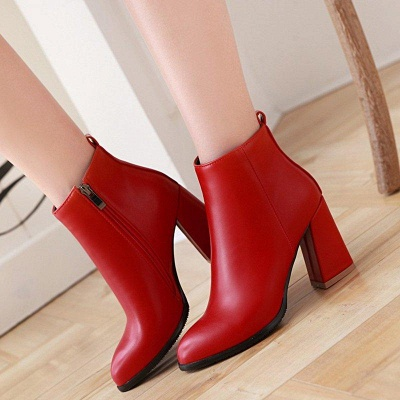 Chunky Heel Zipper Daily Pointed Toe Boots On Sale_7