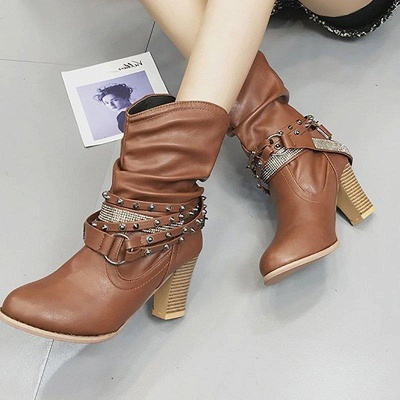 Rivet Chunky Heel Daily Pointed Toe Boots On Sale_1
