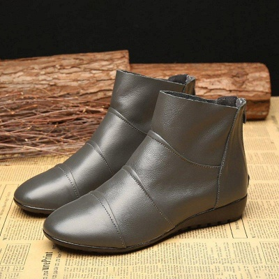 Daily Zipper Flat Heel Pointed Toe Boots On Sale_2