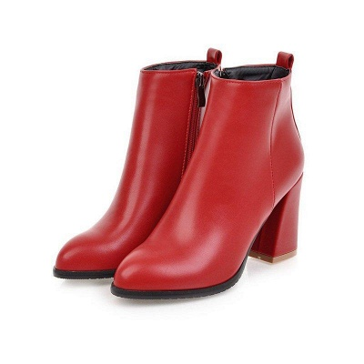 Chunky Heel Zipper Daily Pointed Toe Boots On Sale_1