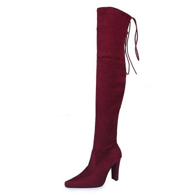 Chunky Heel Lace-up Daily Pointed Toe Elegant Boots On Sale_7