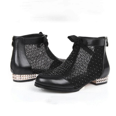 Black Chunky Heel Bowknot Casual Mesh Boots On Sale_2