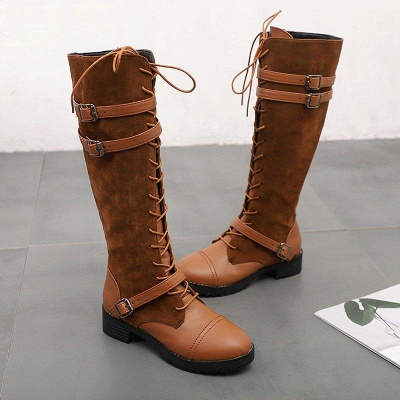 Daily Buckle Chunky Heel Suede Round Toe Boots On Sale_7