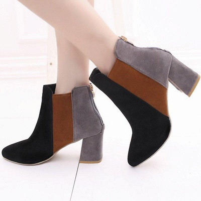 Zipper Daily Chunky Heel Pointed Toe Suede Boots On Sale_2