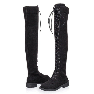 Lace-up Daily Chunky Heel Suede Fall Round Boots On Sale_8