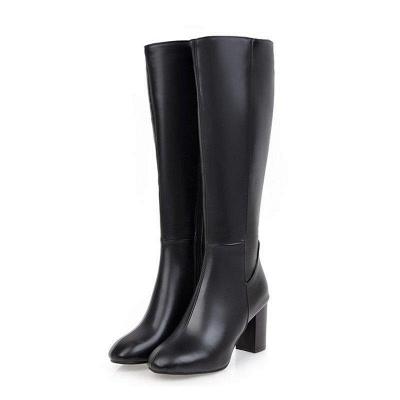 Zipper Chunky Heel Daily Round Toe Elegant Boots On Sale_1
