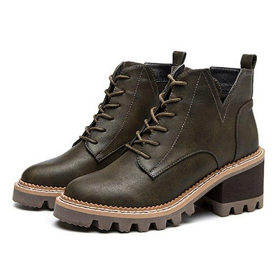 Daily Lace-up Chunky Heel Round Toe Boots On Sale_3