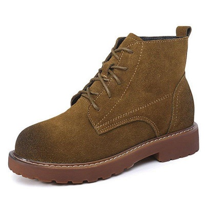 Grind Cowhide Leather Round Toe Boots On Sale_6